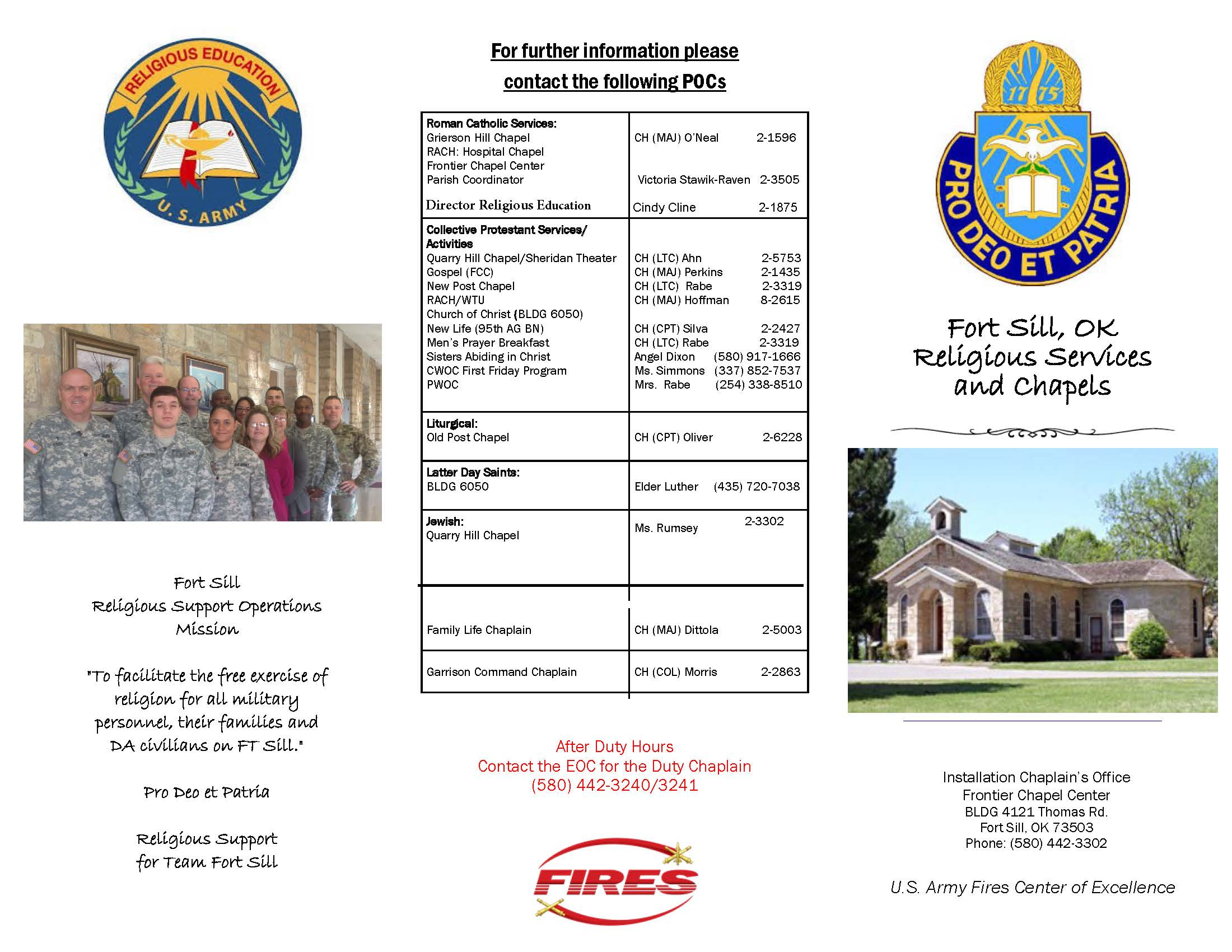 Fort Sill Religious Support Office Trifold